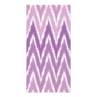 Purple Ombre Ikat Chevron Zig Zag Stripes Pattern Photo Cards