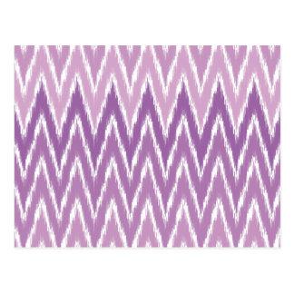 Purple Ombre Ikat Chevron Zig Zag Stripes Pattern Postcards