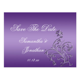 Purple Ombre Ornate Floral Swirls Save The Date Postcard