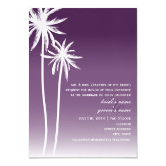 Purple Ombré Palm Trees Beach Wedding Card