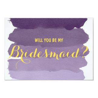 Purple ombre watercolor Will you be my Bridesmaid 9 Cm X 13 Cm Invitation Card