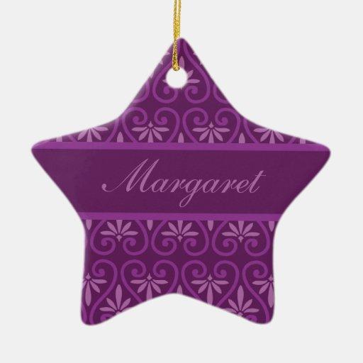 Purple on Purple Floral Pattern Ornaments
