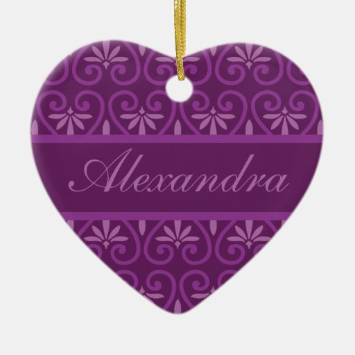 Purple on Purple Floral Pattern Ornament