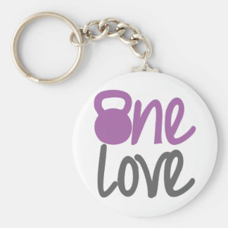 "Purple ""One Love"" Basic Round Button Key Ring"