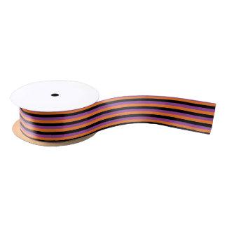 Purple, Orange and Black Stripes Satin Ribbon