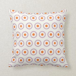 Purple & Orange Circle Dot Retro Design Throw Cushions