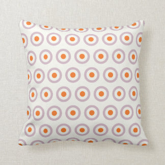 Purple & Orange Circle Dot Retro Design Throw Pillow