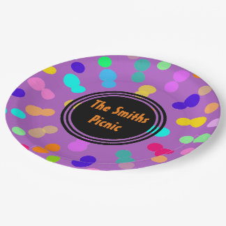 Purple orange colorful dot pattern paper plates