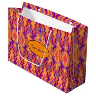 Purple Orange Flames Abstract Large Gift Bag