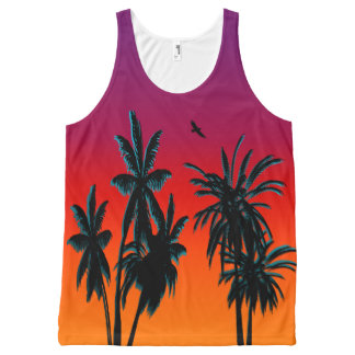 Purple Orange Haze Tahiti Palm Trees Sunset Retro All-Over Print Singlet
