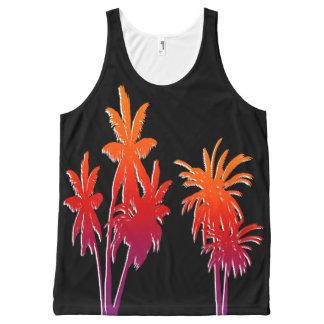 Purple Orange Haze Tahiti Sunset Palm Trees Black All-Over Print Singlet