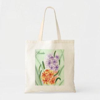 Purple Orange Hyacinth Flowers Monogram Bride Bags