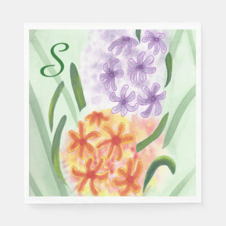 Purple Orange Hyacinth Flowers Monogram Napkins Paper Serviettes