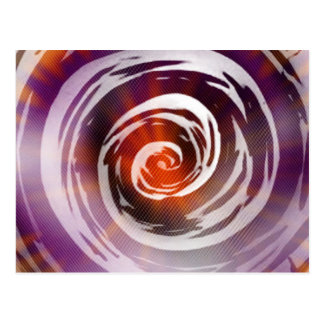 Purple & Orange Hypnotic Swirl Art Postcard