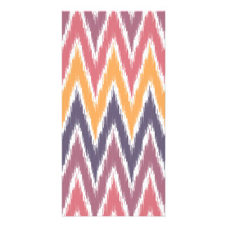 Purple Orange Ikat Chevron Zig Zag Stripes Pattern Personalised Photo Card
