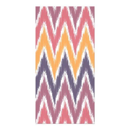 Purple Orange Ikat Chevron Zig Zag Stripes Pattern Picture Card