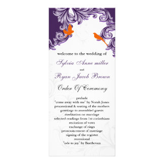 purple, orange lovebirds programs rack card