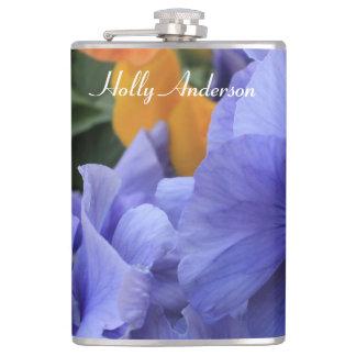 Purple & Orange Pansies w/ Green Floral Photo 4810 Hip Flask