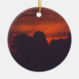Purple orange sunset clouds ceramic ornament
