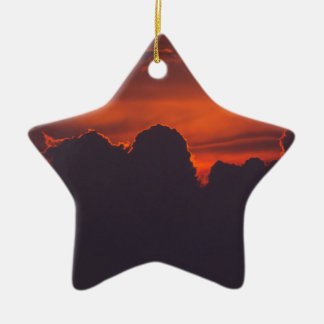 Purple orange sunset clouds ceramic star decoration