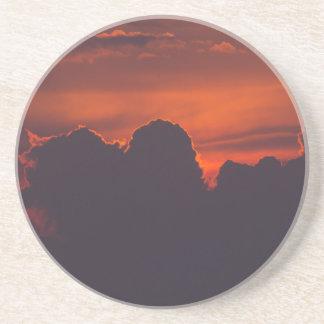 Purple orange sunset clouds drink coaster