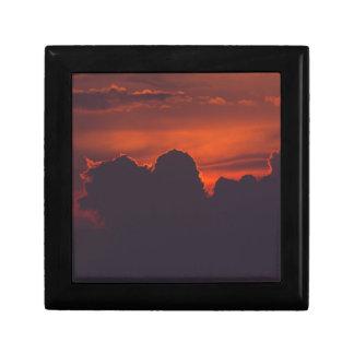 Purple orange sunset clouds gift box