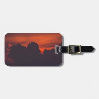 Purple orange sunset clouds luggage tag