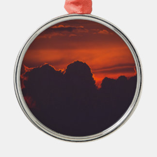 Purple orange sunset clouds metal ornament