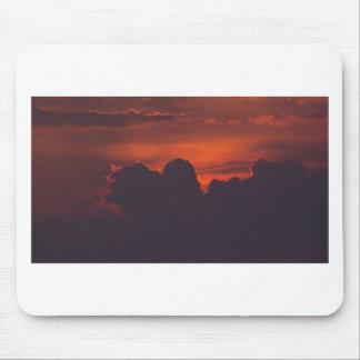 Purple orange sunset clouds mouse pad