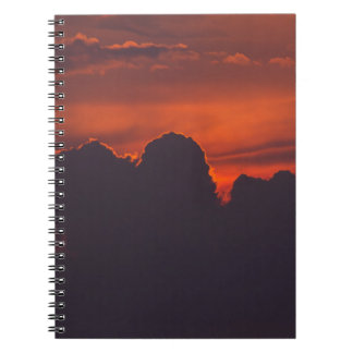Purple orange sunset clouds notebook