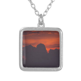 Purple orange sunset clouds silver plated necklace
