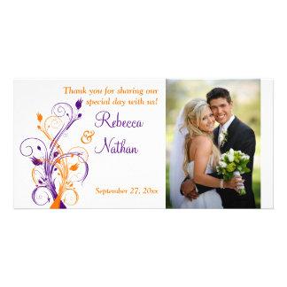 Purple, Orange, White Floral Wedding Photo Card