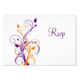 Purple Orange White Floral Wedding Reply Card 9 Cm X 13 Cm Invitation Card