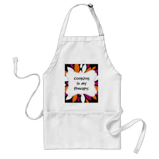 Purple Orange White Flower Petal Art on Black Standard Apron