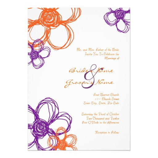 Purple & Orange Wild Flowers 5x7 Invitation