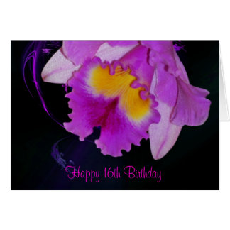 Purple Orchid 16th Birthday Card