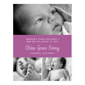 Purple Orchid Birth Announcement Baby Photo Postcard