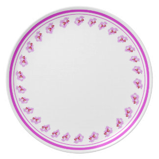 Purple Orchid Circle - Floral Photography Cut Out Party Plate