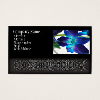 Purple Orchid Close Up on White Business Card