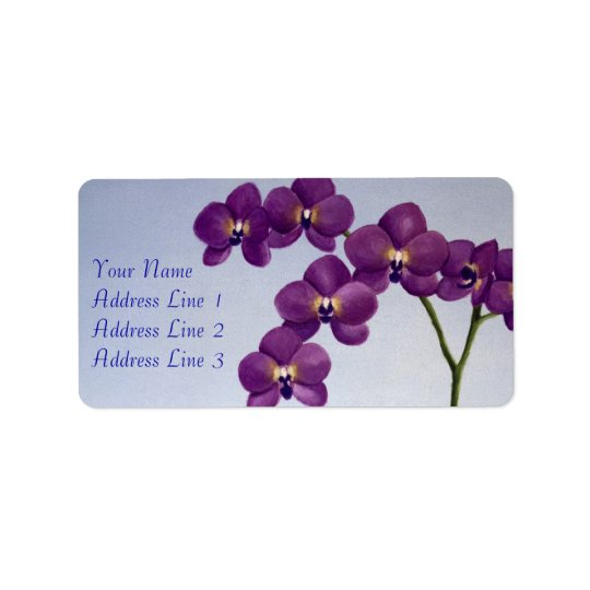 Purple Orchid Floral Address Label