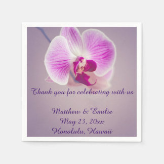 Purple Orchid Flower Paper Wedding Napkins Disposable Serviette