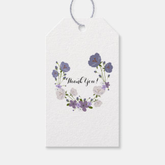 Purple Orchid Lavender Flower Wreath, Thank You Gift Tags