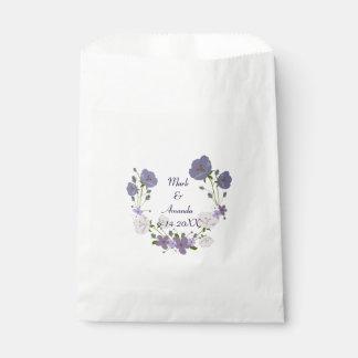 Purple Orchid Lavender Flower Wreath Wedding Favour Bag