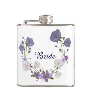 Purple Orchid Lavender Flowers Floral Wreath Hip Flask