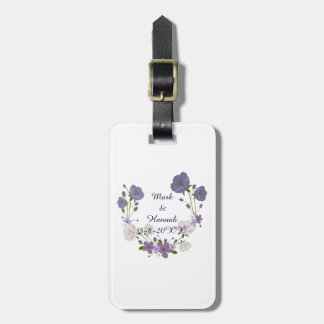 Purple Orchid Lavender Flowers Floral Wreath Luggage Tag