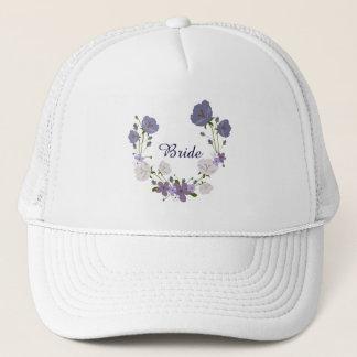 Purple Orchid Lavender Flowers Floral Wreath Trucker Hat