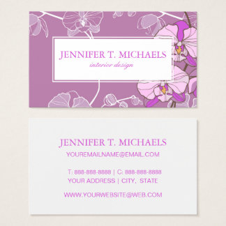 Purple Orchid Pattern Business Card