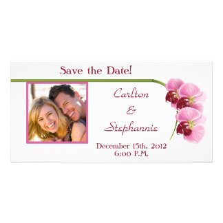 Purple Orchid Wedding Photo Announcement Photo Card Template