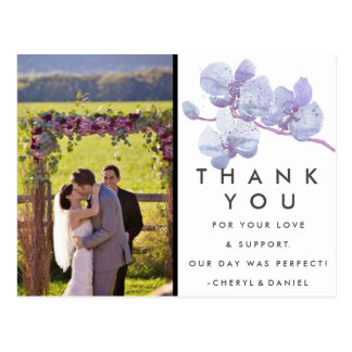Purple Orchid Wedding Thank You Photo Postcards