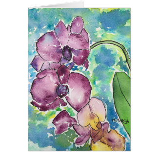 Purple Orchids Art Greeting Card